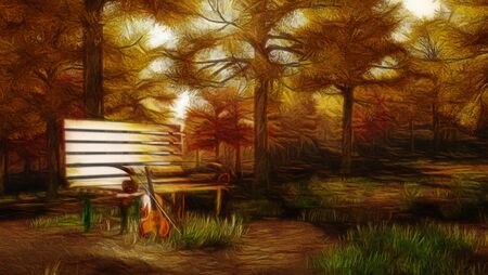 Autumnal forest with violin Stock Photo