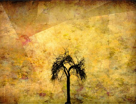 Abstract painting. Black silhouette of a tree. Stock Photo