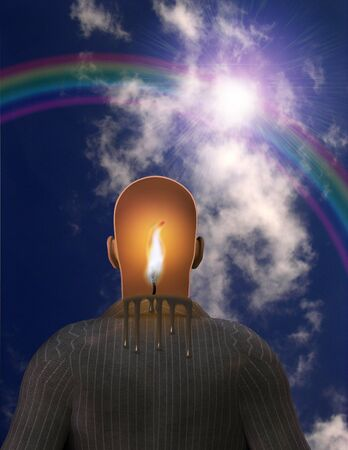 Surrealism. Melting candle in mans head. Rainbow in the sky.