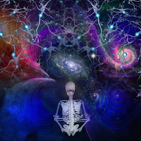 meditates: Skeletal figure meditates in cosmos Stock Photo