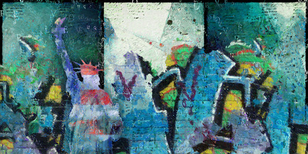 ny: Abstract painting. Statue of Liberty.