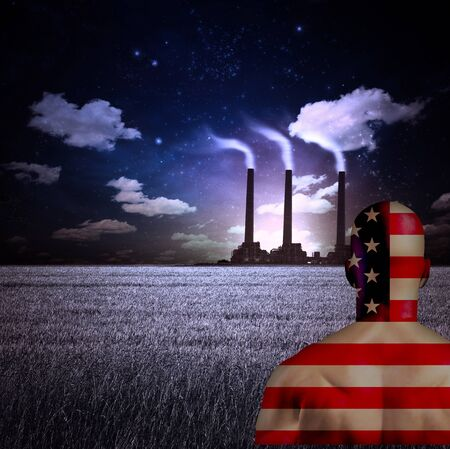 visions of america: Factory with pipes at the horizon. Man in US national colors. Stock Photo