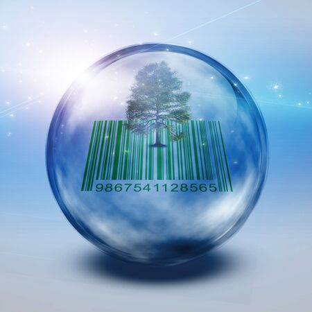Green tree and barcode inside bubble. Stock Photo