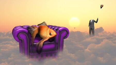 unreal unknown: Golden fish in armchair on a clouds. Man in a suit holds his head as a balloon.