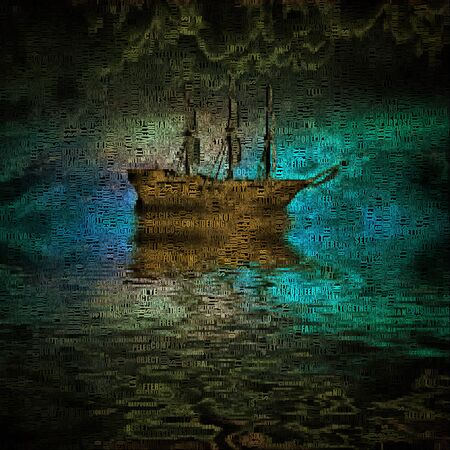 keel: Painting. Lonely ship