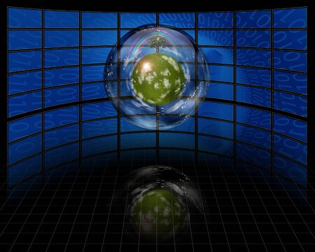 Eco Sphere with screens and computer language