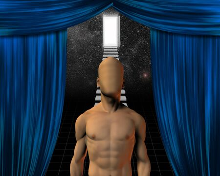 Faceless man and theater curtian opening