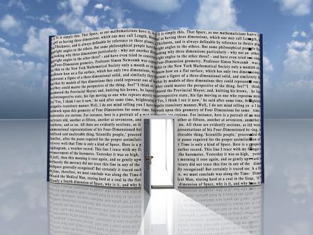 gain access: Book with open door Stock Photo