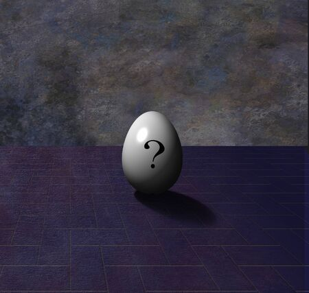 questionable request: 3d render. Egg with question sign.