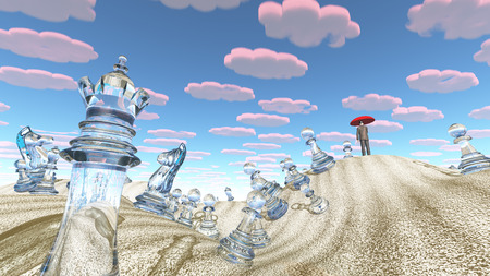 unreal: Making combinations in surreal desert with chess figures.