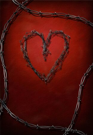 thorns  sharp: Heart made of barbed wire. Stock Photo