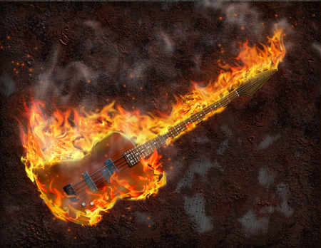strings: Flaming Bass Guitar against rusted metal background