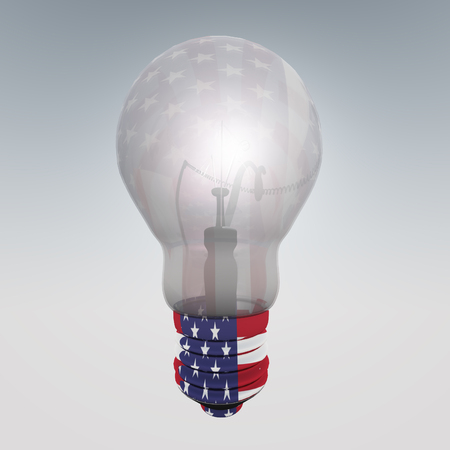 ingenuity: 3d render. Light bulb with US flag.