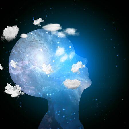Kopf in den Wolken enthält Leerzeichen