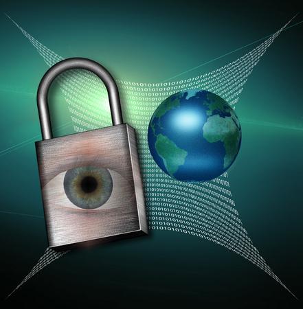 Earth and web of machine language with padlock