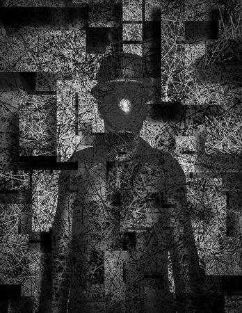 초현실적 인 그림. 이미지 대신 사과 함께 중산 남자입니다.