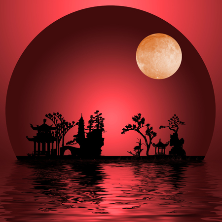Asia Landscape with Moon Stock Photo
