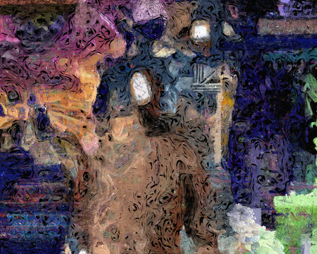 Abstract painting with faceless man.