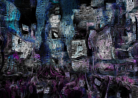 Times Square New York Painting. Picasso style. Words. Stock Photo