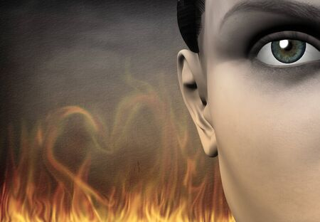 Symbolism. Girls face, flames in shape of heart on a background.