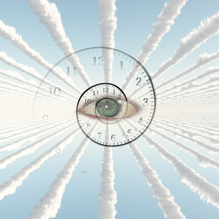 Clouds tunnel. Gods eye and spiral of time. Stock Photo