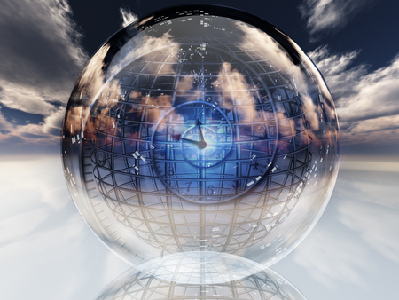 glass sphere: Spiral of time inside crystal ball. Stock Photo
