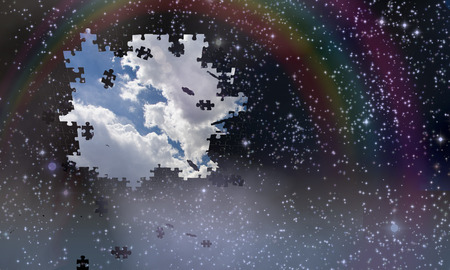 Puzzle pieces fall from night sky revealing day with rainbow Stock Photo