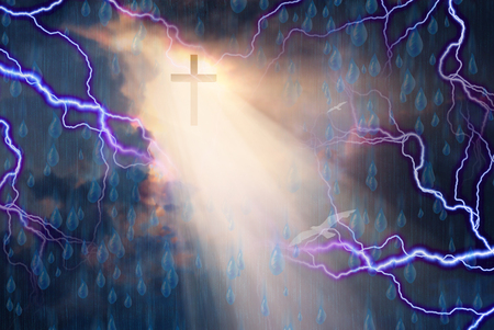 rages: Cross bathed in Light from Sun While Storm Rages