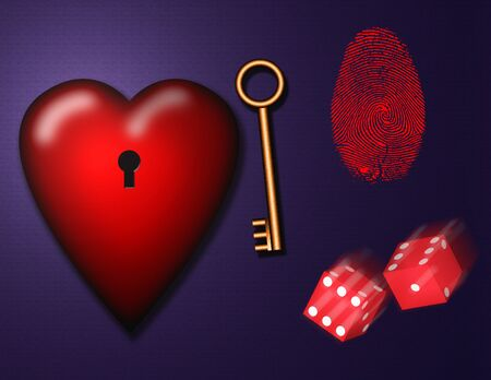 3d render. Heart with keyhole. Golden key and dice. Stock Photo