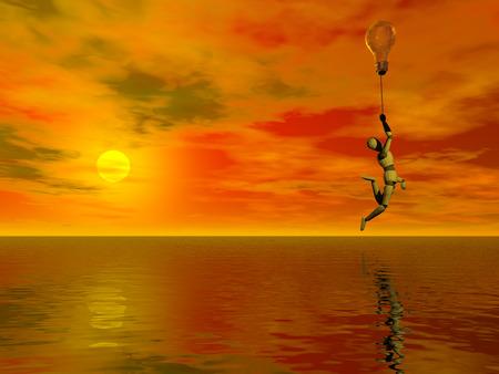 Doll flies on a light bulb. Vivid sunset. Banque d'images