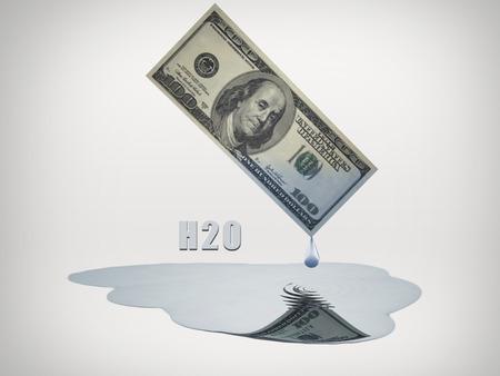 100 Dollar bill drips fresh water 版權商用圖片