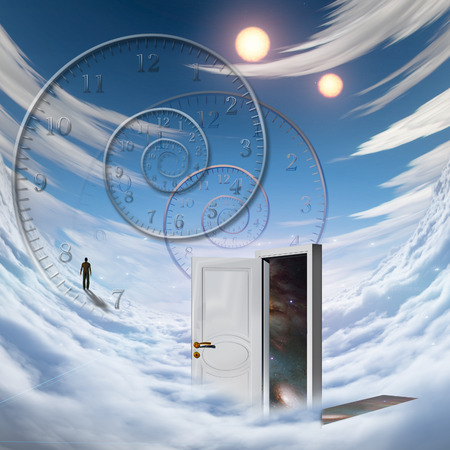 suspenso: Surrealism. Spiral of time. Lonely man in a distance. Opened door to another dimension.
