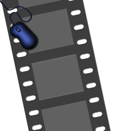 Filmstrip and PC mouse. Stock Photo