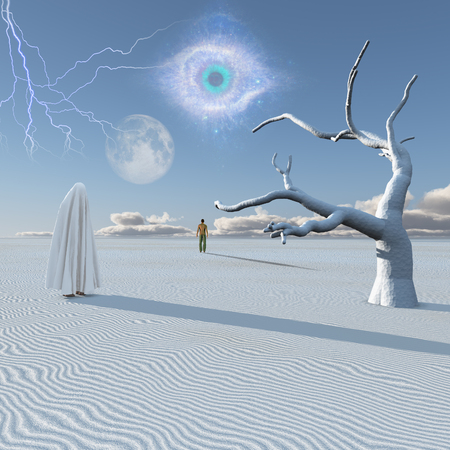 unreal unknown: Figure in white hijab stands in surreal white desert. Lonely man in a distance.