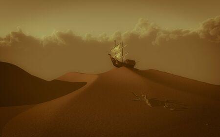 atop: Ancient sailing ship atop red desert sand dune.