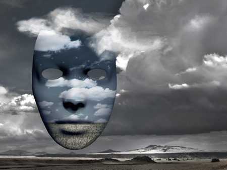 tragedy: Mask with image of clouds and field. Mountain landscape on a background. Stock Photo