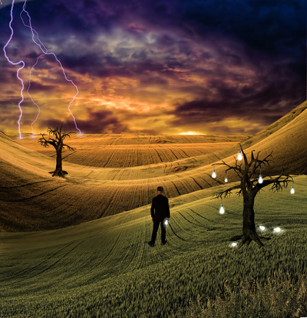 Lighting Flashes In The Distance Before Man In Colorful Scene Stock Photo Picture And Royalty Free Image. Image 72990054. & Lighting Flashes In The Distance Before Man In Colorful Scene ... azcodes.com