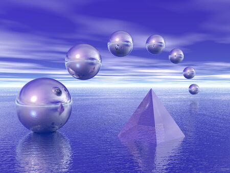 Pyramid and spheres above water.
