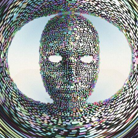 human face: Prismatiuc Face Mask Stock Photo