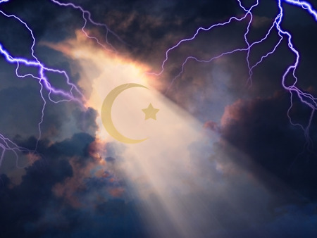 Lightning sky with Islamic Cresent
