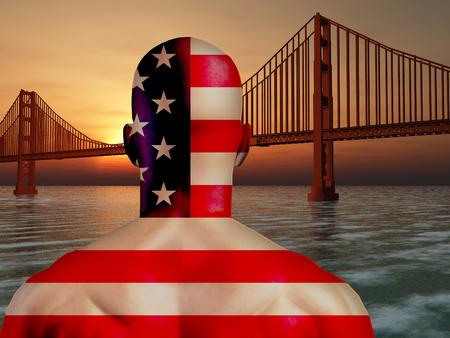 Man in US national colors. Golden Gate Bridge 3D Illustration. Stock Photo