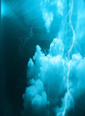 青空にサイボーグの顔 写真素材