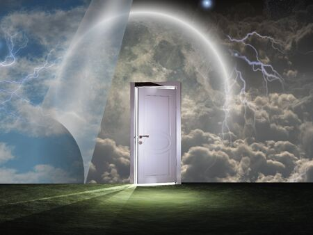 Sky curtains and white door. Stock Photo