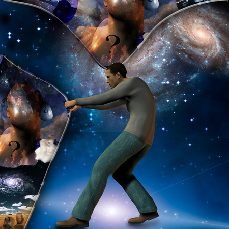 revelation: Man stretches space time to show power beneath
