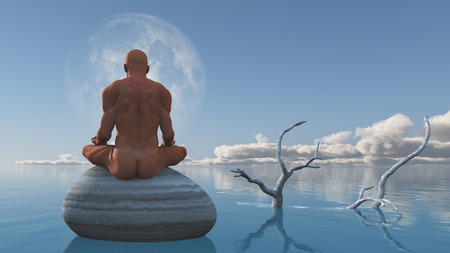 Man meditates sitting on stone in still water