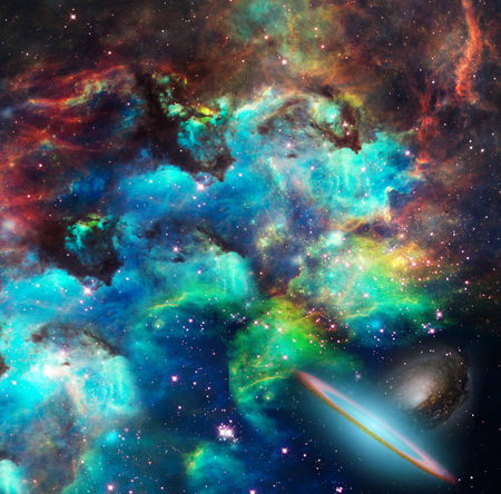 Nebulae, stars, galaxies. Vivid colors. Stock Photo