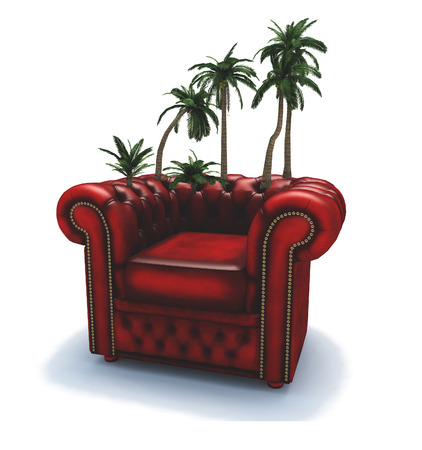 Surrealism. 3D render. Red armchair with palm trees.