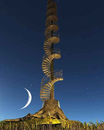 Circular Staircase rises into twilight sky from Tree Stump Stock Photo