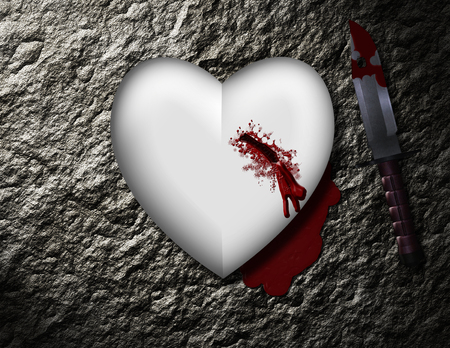 bleeding heart with bloody knife Stock Photo