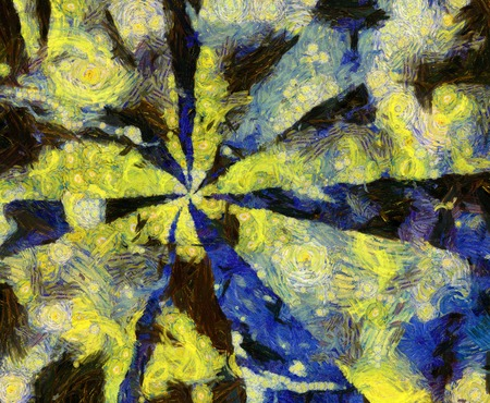 Abstract oil painting in muted yellow, brown and blue colors. Stock Photo